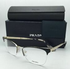New PRADA Eyeglasses VPR 65Q QE3-1O1 53-17 Semi-Rimless Black & Pale Gold Frame