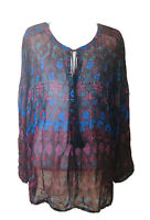 Lucky Brand Womens 3x Plus Top Blouse Multicolor Semi sheer Long Sleeve Peasant