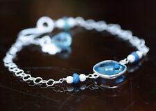 Natural Sapphire, Blue Topaz, Blue Quartz Circle Link Bracelet Sterling Silver