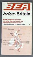 BEA BRITISH EUROPEAN AIRWAYS INTER-BRITAIN AIRLINE TIMETABLE WINTER 1969/70