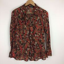APT. 9 LARGE fall color sheer long sleeve button down blouse top career shirt