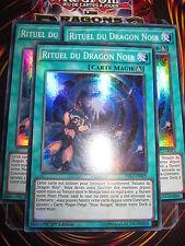 YU-GI-OH! SR RITUEL DU DRAGON NOIR LOT DE 3 (PLAYSET) DRL2-FR019 MINT NEUF