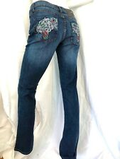 CHRISTIAN AUDIGIER Ed Hardy CRYSTAL EMBELLISHED & EMBROIDERED PANTHER Jeans 26""