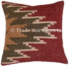 Indian Handwoven Kilim Jute Cushion Cover 18x18 Vintage Rug Rustic Pillow Cases