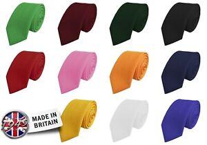 Skinny Tie - Bold Plain Solid Matte Mens Matt Narrow 2 inch (5cm) Wide