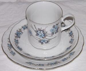 Mitterteich Bavaria Tea Trio Side Plate Cup & Saucer Blue Floral & Silver Gilt