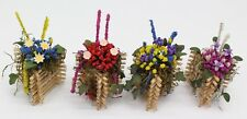 NEW Set Of 4 Dolls House Miniature 1:12 Scale Dried Flowers Arrangements