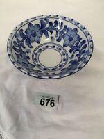 "Hand-Painted Blue & White Bowl (6"" Diameter)"