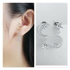 Ohrringe Ohrhänger  925 Silber Asymmetrisch Mond Stern(4mmx10mm) Strass Neu