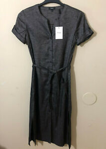 Theory Linen Blend Maxi Dress Short Sleeve Belted Button Up Pockets Gray Sz 10