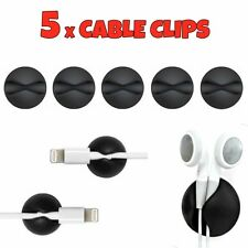 5 x Black Cable Wire Cord Lead Drop Clips Usb Charger Holder Tidy Desk Organiser