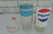 3 vintage tumblers glasses 7 Up The Uncola Pepsi & Seagram's Gin Bar Barware