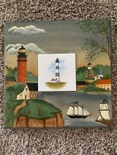 Bodie Island N.C. Lighthouse Hand Painted Wood With Center Trivit Signed Jo