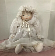 "Vtg  Porcelain 13"" Baby Doll All Handmade Christening Dress Outfit Hand Smocked"