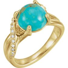 14k Yellow Gold Kingman Turquoise and Diamond Bypass Ring Size 7