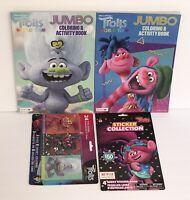 4 Pc Gift Set Trolls World Tour Jumbo Coloring Books Crayons & 150+ Sticker Book