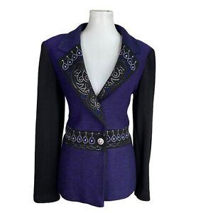 DONNA VINCI Women 1PC Beaded Knit Black Purple Blazer Suit Size 8