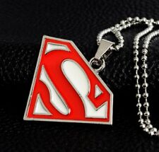 "Superman Logo Bigger Pendant Necklace 24"" Chain Super Man White Red Colour S Big"