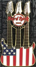 Hard Rock Hotel ORLANDO 2017 USA FLAG Triple Neck GUITAR PIN on CARD LE 300 New!