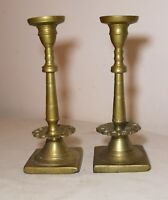 pair of  rare antique solid 18th century 1700's brass candlestick candle holder