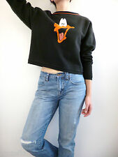 VTG 90s Looney Tunes Cropped Sweatshirt Top Daffy Duck Size M / L Hip Hop Grunge