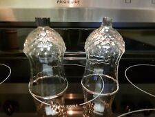 Set 2 Homco Home Interiors Candle Cup Diamond Tall Tiffany Candle Holder Glass