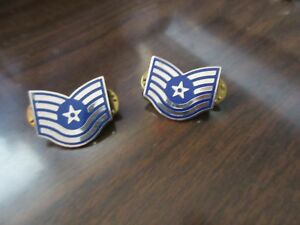 1p Original US Air Force Metal Collar Rank Insignia Technical Sergeant Army USAF