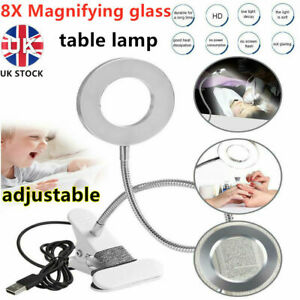 8X Magnifying Lamp Desk LED Top Glass Beauty Nail Salon Tattoo Magnifier Light