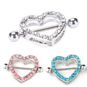 Hot 1Pair Heart Crystal Nipple Ring Nipple Shield Steel Barbell Piercing Jewelry