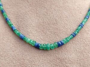 Emerald Blue sapphire Beaded Handmade Necklace Faceted Rondelle Beads Necklace