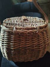 Medium Vintage Woven Wicker Fishing Basket Creel with Leather Carry Strap