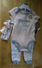 Baby Essentials baby clothes girl Bodysuit Pant Headband pink silver sparkle 9M