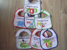 Girls Boys Bibs 7 Day Pack/Set Baby Plastic Back Birth Newborn Small