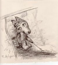 Norstein's Tale of Tales Original Drawing by Yarbusova (Little Wolf & Campfire)