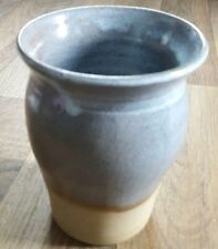 Pale Blue/ Brown Glaze Hand thrown Earthenware Vase, Studio Pottery marked 'ED'