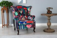 WestWood Luxury Patchwork Chair Sofa Vintage Armchair Retro Fabric Tub Seat PC01
