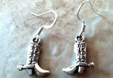 COWBOY BOOT EARRINGS silver with spurs,.925 Sterling Wires, Western cowgirl