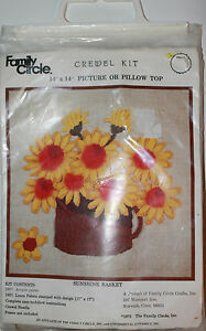Family Circle 1973 Sunshine Basket Picture or Pillow Top Crewel Embroidery Kit