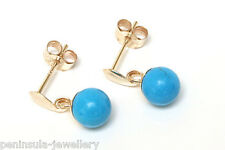9ct Gold Turquoise Ball Drop earrings Gift Boxed