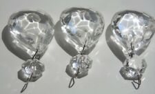lot of 3 vintage glass chandelier crystals prisms XL clear teardrop crafts DIY