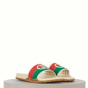 GUCCI 350$ Men's Interlocking G slide sandal In Ivory Orange Green