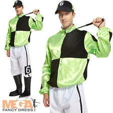 Racing Jockey Mens Fancy Dress Polo Horse Rider Adults Sports Uniform Costume