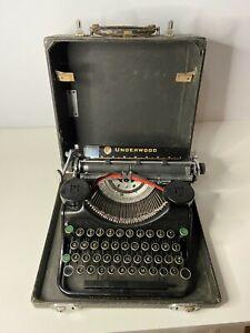 VINTAGE 1930s Underwood Champion Black Portable Typewriter w/ Case - Tested