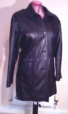 WOMENS BLACK Soft Lambskin REAL LEATHER Pea COAT Size L Chest c42ins c107cms