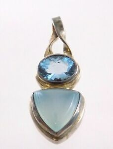 Sterling Silver Chalcedony and Blue Topaz Pendant 925 7.8g 1.5 Inches