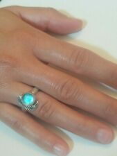 NEW Hand Made .925 Sterling Silver 9 mm Best Blue Cabochon Glass Stone Mako H2O