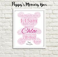 Teddy Bear New Baby Birth Christening Communion Personalised Word Art Gift Print