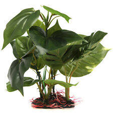 Artificial Fake Plant Green Plastic Monstera Aquarium Fish Tank Ornament UKPL