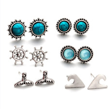 6Pairs Fashion Jewelry Women Opal Alloy Various Turquoise Ear Studs Earrings Set