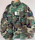 USAF 1999 Woodland Camo M-65 Field Jacket w/Hood Large Regular Used SG25